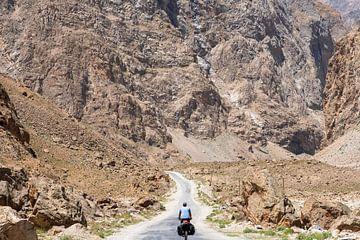 Kleine fietser tussen hoge bergen van
