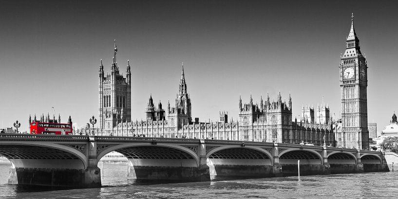 LONDON Westminster Bridge   Panoramic view van Melanie Viola