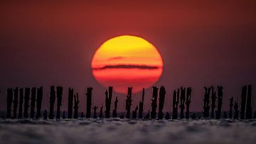 Sonnenuntergang Wattenmeer von Martijn van Dellen