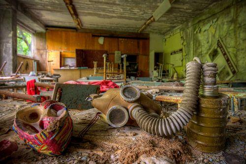 gasmasker in klas van
