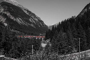 Rood treintje over brug in de bergen, Zwitserland van Sasja van der Grinten