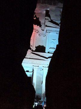 The Treasury in Petra by night van Nadine Geerinck