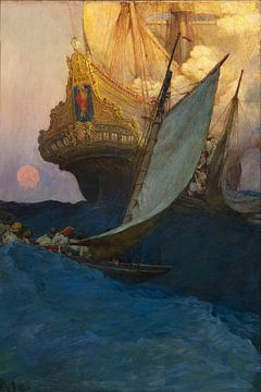 Howard Pyle, Ein Angriff auf eine Galeone - 1905 von Atelier Liesjes