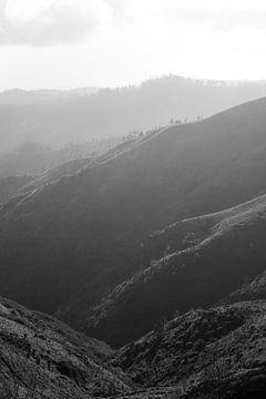 zwart wit foto bergen in madeira. van Robin van Maanen