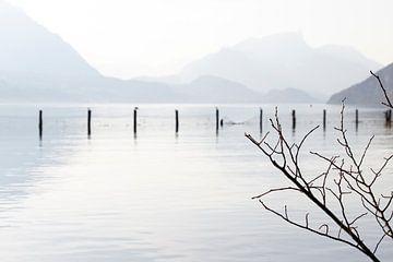 Mistige dag, met een oneindig uitzicht over de bergen van Zwitserland van Moments by Kim