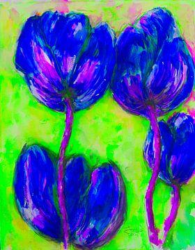 Blaue Tulpen. von Ineke de Rijk