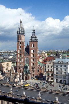 St. Mary's Basilica  on the Rynek, view from City Hall Tower , UNESCO World Heritage Site,  Krakow,