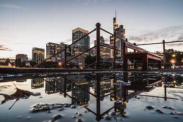 Frankfurt park bank met skyline uitzicht van domiphotography