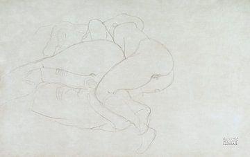 Twee vrouwen, vrienden liggend naakt, Gustav Klimt (ca. 1905–1906) van Atelier Liesjes