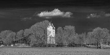Kerktoren van Aegum op een vroege voorjaarsdag met een donkere lucht van Harrie Muis