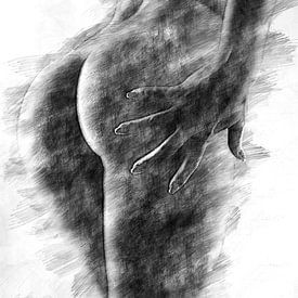 Weibliche Gesäßbacken (Zeichnung, erotisch) von Art by Jeronimo