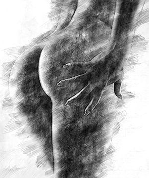 Weibliche Gesäßbacken (Zeichnung, erotisch)