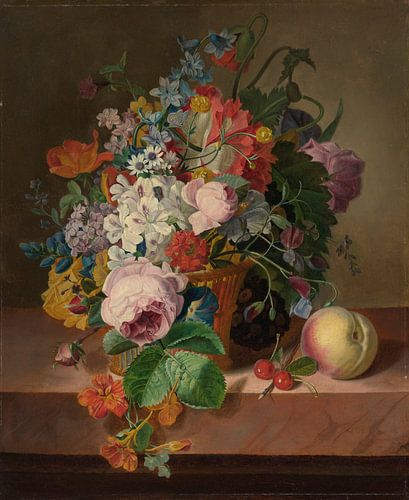 Stilleven met bloemen in een mand en perzik, Jan Frans Van Dael van Meesterlijcke Meesters