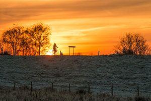 Fietsend op de dijk bij zonsopgang