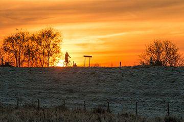 Fietsend op de dijk bij zonsopgang van Jonathan Vandevoorde