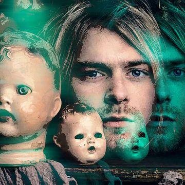 Kurt Cobain Linienzeichnung Portrait mit blauem Schein von Art By Dominic