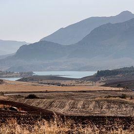 Spanje landschap Andalusie onderweg naar el Caminito del Rey van Marianne van der Zee