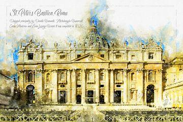 Sint-Pietersbasiliek, Waterverf, Rome van Theodor Decker