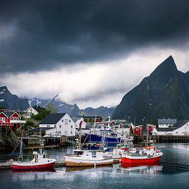 De haven van Hamnø op de Lofoten. van Hamperium Photography