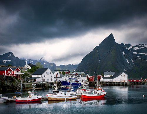 De haven van Hamnø op de Lofoten. van