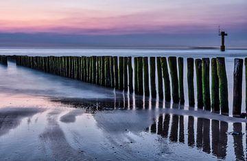 Zonsondergang strand Cadzand van Ellen Driesse