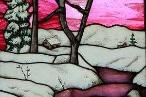 Berglandschap in glas en lood