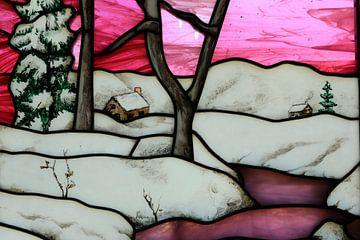 Berglandschap in glas en lood van