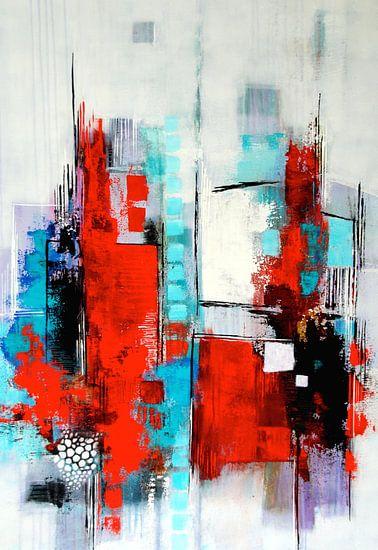 Abstrakte Komposition in Rot und Türkis