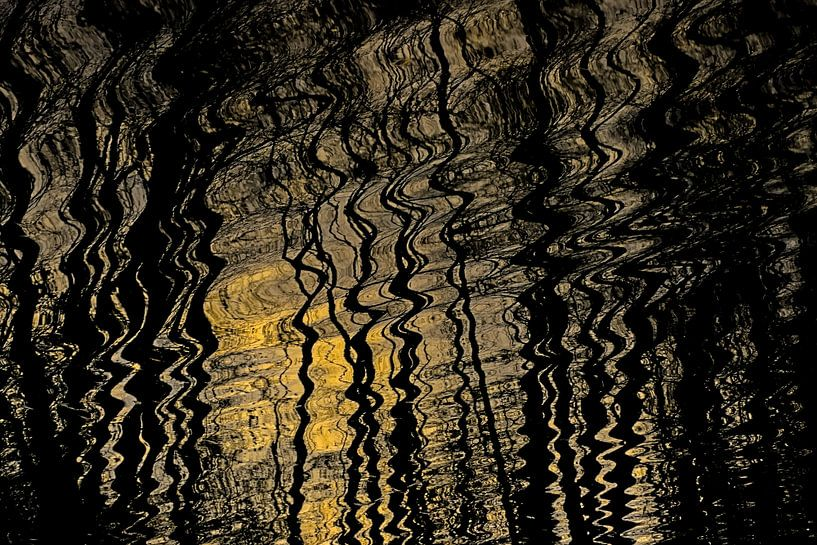 Weerspiegeling van zonlicht en bomen in golvend water van Kristof Lauwers