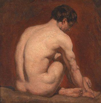Mannelijk naakt, geknield, vanaf de rug, William Etty