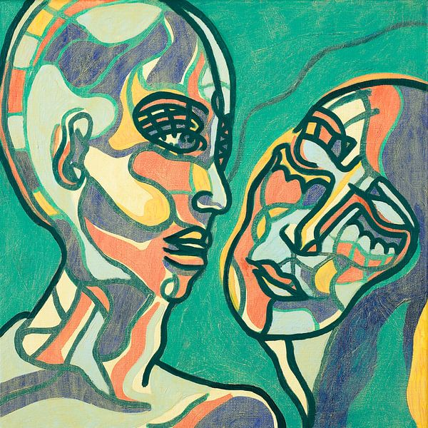 Tribal duo portrait, green