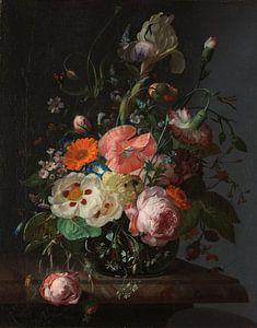 Rachel Ruysch, Stilleven met bloemen op een marmeren tafelblad