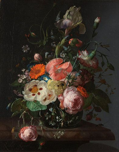 Rachel Ruysch, Stilleven met bloemen op een marmeren tafelblad van Meesterlijcke Meesters