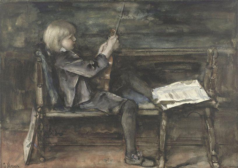 Porträt von Willem Matthijs Maris, mit Geige, Jacob Maris von Meesterlijcke Meesters