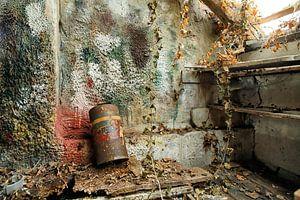 Uitstrijkmuur in schilderswerkplaats van