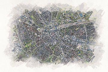 Kaart van Eindhoven  in Aquarel Stijl van Aquarel Creative Design