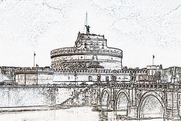 Engelenbrug en engelenkasteel in Rome, Italië van Gunter Kirsch