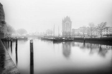 De oude Haven Rotterdam zwartwit van