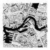 Plattegrond Rotterdam in woorden - zwart wit  van Muurbabbels Typographic Design thumbnail