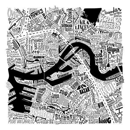 Plattegrond Rotterdam in woorden - zwart wit  van Muurbabbels Typographic Design