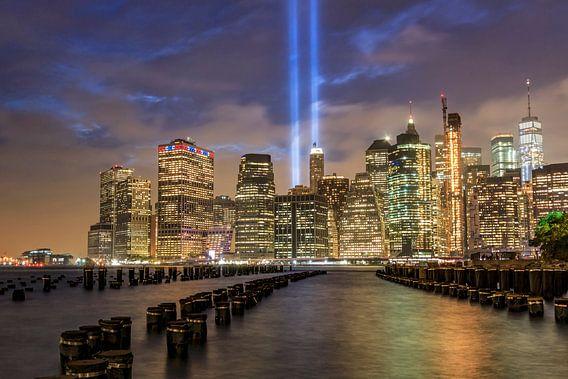 9/11 tribute in light Lower Manhattan