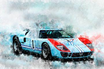 Le Mans 1966,  Ford GT40, Ken Miles, Denis Hulme von Theodor Decker