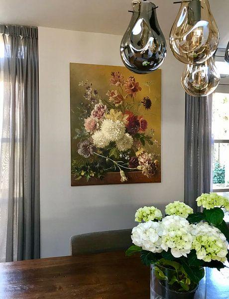 Kundenfoto: Stillleben mit Blumen in einem Vase, auf leinwand
