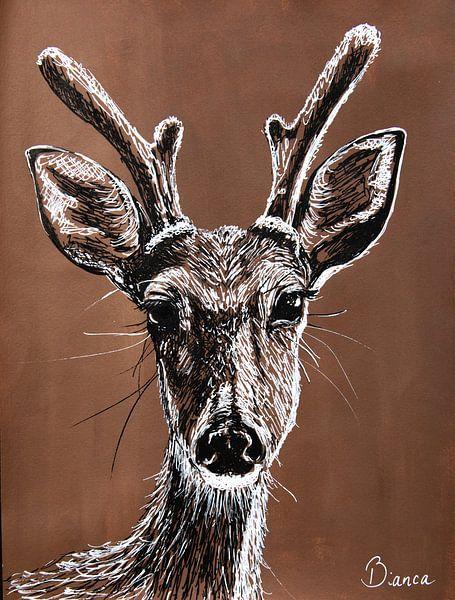 Federzeichnung Hirsch von Bianca ter Riet