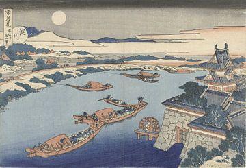 De Yodo rivier in maanlicht van Katsushika Hokusai, 1831 - 1835