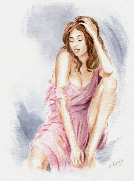 Natural beauty - erotische aquarel van Marita Zacharias