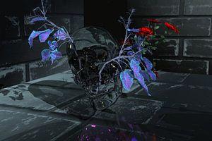 Gläserner Skull mit Rose