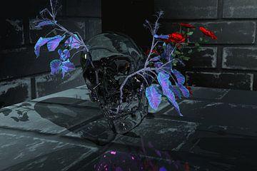 Glazen schedel met roos van Norbert Barthelmess