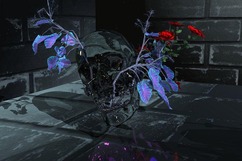 Gläserner Skull mit Rose von Norbert Barthelmess
