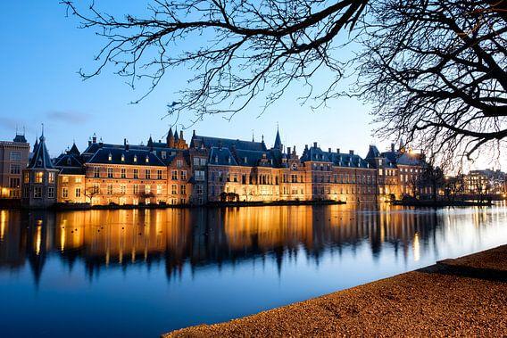 Hofvijver in Den Haag met uitzicht op het Binnenhof van Esther Seijmonsbergen
